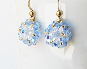 Christmas Wreath Earrings, Swarovski Crystal Earrings, Beaded Dangle Earrings, Ice Blue, Holiday Jewelry, Holiday Gift Idea, Wreath E#005