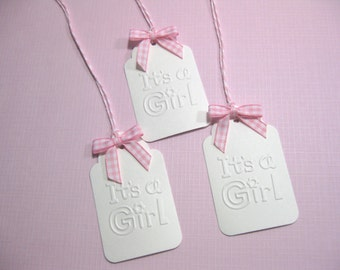 10 Baby Shower Tags for Favors - Embossed It's a Girl Baby Shower Tags with Gingham Bows - Gift Tags - New Born Baby - Pink