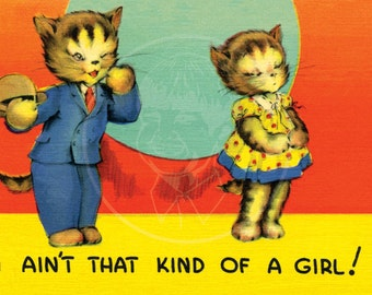 I Ain't that Kind of Girl - 10x16 Giclée Canvas Print of Vintage Postcard