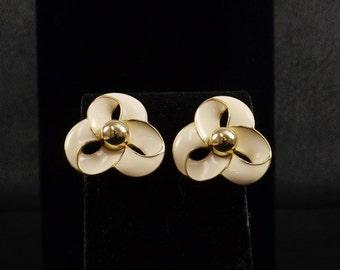 TRIFARI Ivory Enamel and Gold Tone Post Earrings
