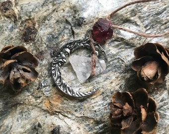 Garnet and Quartz Crescent Moon Pendant ~ Hemp Wrapped Crystal Necklace, Reiki Charged
