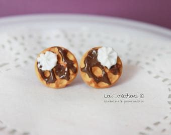 Earring studs - waffles Choco whipped cream