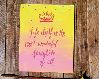 Princess Wall Decor - Little Girls Room wall art | Pink and yellow canvas wall hanging | Fairytale Decor for Girls Room | Jeweled wall art