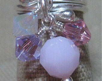Mix of Pinks Swarovski Crystal Cassie Cluster Dangle Ring - R148