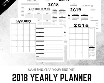 2018 Weekly Planner, Printable Planner, Minimal Layout, Calendar, Planner, Schedule, Printable