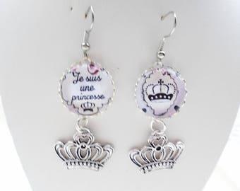 Earrings cabochon I'm a Princess
