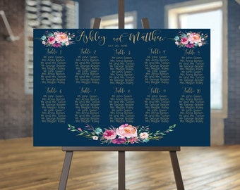Wedding Seating Chart Printable Navy Guests List Gold Plan Guest And Coral Anna