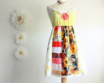 Hippie Style Women's Dress Yellow Retro Sundress 70s Bohemian Clothing Orange Patchwork Upcycled Eco Fashion XL Size XLarge 'JANIS'
