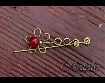 Wire Wrapped Pink Flower Brooch - Shawl Pin - Broche pour Chale - Collar Pin - Scarf Pin - Nature Lover Gift - Agate Shawl Pin - Nana Gift