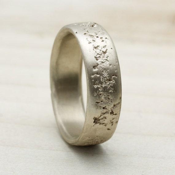 6mm Concrete Texture Mens Wedding Band Cement Textured