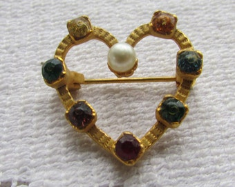 Vintage open heart with multi colorled rhinestones and faux pearl heart  Valentine  pin brooch
