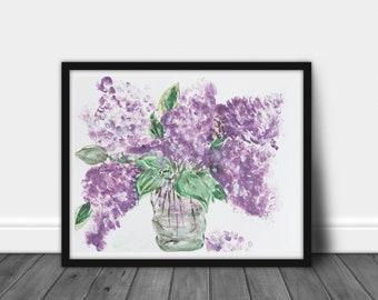 Lavender floral, Spring lilac flowers art, Watercolor original painting, pink floral, soft purple, original art, Minimalist floral painting
