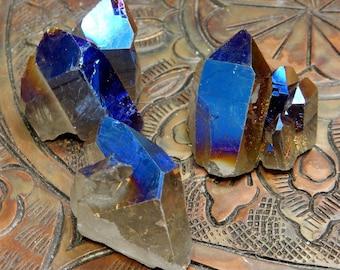 Titanium Crystal Clusters Mystic Blue Crystal Quartz Point Cluster - You CHoose (RK86B11-14)
