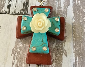 CROSS Pendant Large Stacked Brown Howlite Stone with Turquoise Blue Stone Cross, Acrylic Cream Colored Rose and Bling Jewelry OOAK