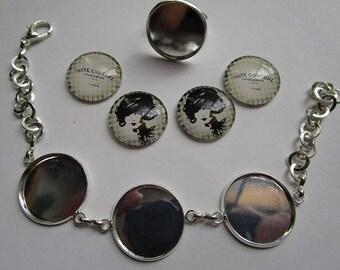 bracelet 3 creation Kit cabochons 20mm + ring 20mm
