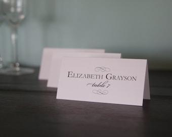 Elegant Flourish Printed Place Cards