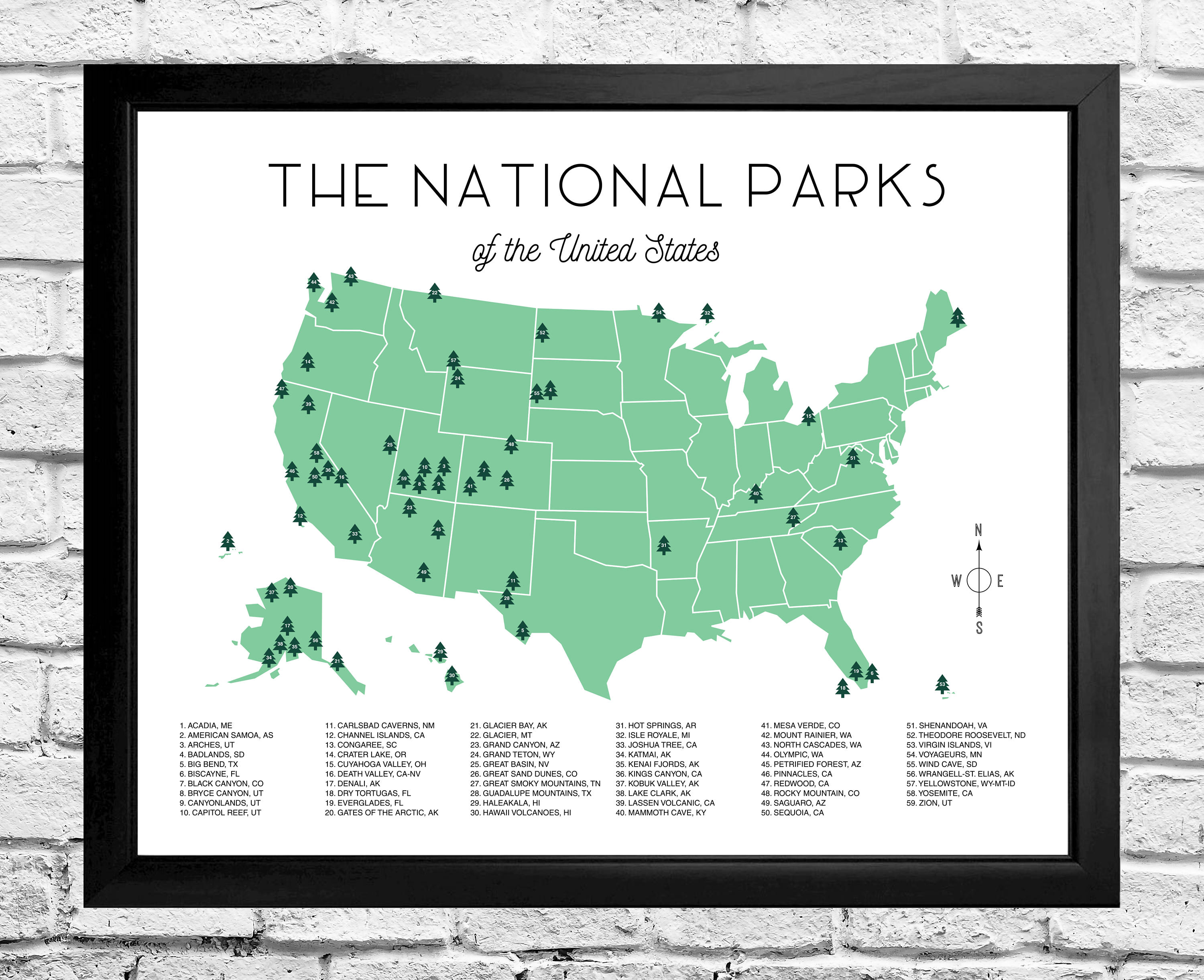 National Parks Map Checklist Instant Download