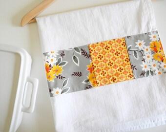 Kitchen Towel in Flea Market Floral Bouquet Patchwork - Orange and Grey
