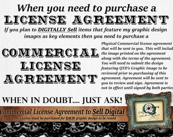 Commercial Licensing Agreement by Quality Time Designs for Exclusive Use Including Digital Sale of Uniquly Designed and Altered Images
