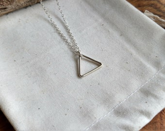 Triangle Necklace - Silver Triangle Necklace - Geometric Jewelry - Layering Necklace - Simple Lightweight Everyday - Triangle Pendant