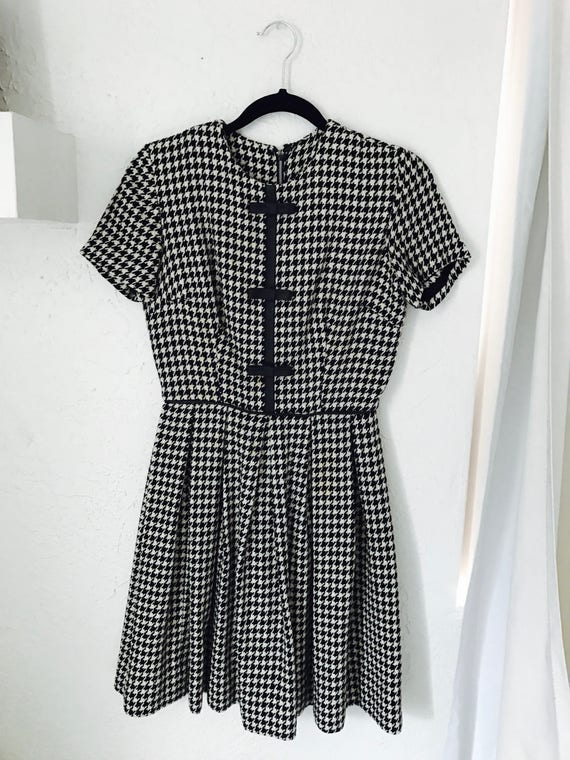 60s Gingham Pleated Wool and Leather dress