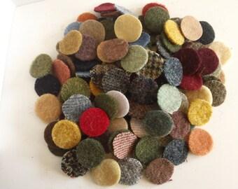 150 - 1 inch wool penny rug circles - Mixed precut