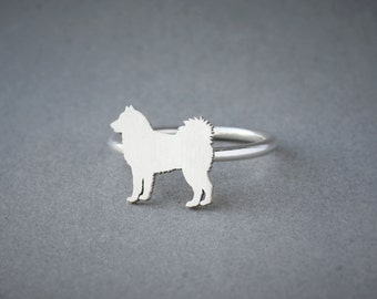 SIBERIAN HUSKY RING / Siberian Husky Ring / Silver Dog Ring / Dog Breed Ring / Silver, Gold Plated or Rose Plated.
