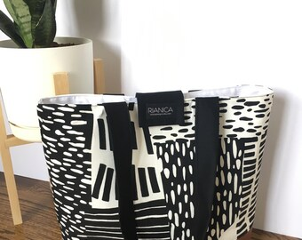 Black and White Abstract Fabric Tote Diaper Bag