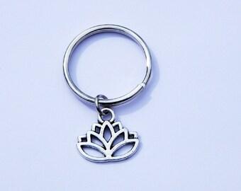 Lotus Keychain, Lotus Flower Keychain, Lotus Charm, Flower Keychain, Friendship Keychain, Lotus Key Ring, Yoga Keychain, BFF Keychain, Lotus