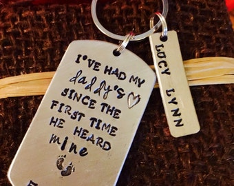Hand stamped fathers day keychain dad gift
