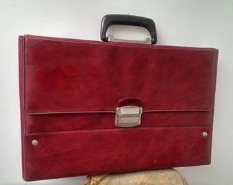 Vintage Leather Briefcase, Wine-colored Leather HandBag, Student Portfolio Bag, Office Bag, Briefcase Bag from 1970s, Gift Idea