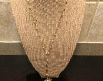 Amazonite Gold Arrow Lariat