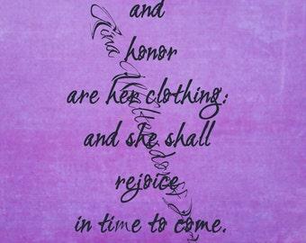 Printable Proverbs 31-25, scripture digital print, purple, Christian, wall art, DIY, bible verse, proverbs 31 woman, bible verse