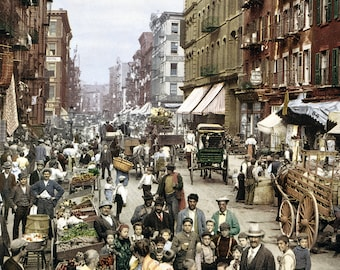 Vintage Image Tinted Mulberry Street Brookly NY 1914 - Digital Download