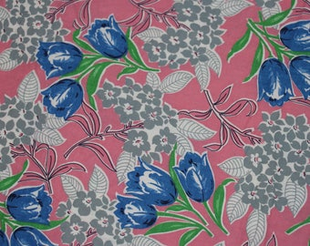 Vintage Cotton Fabric-1940's-Pink-Tulips-BTY-Yardage