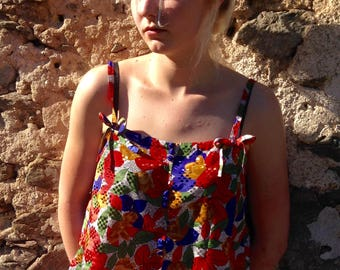 Brightly coloured French vintage camisole
