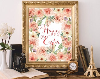 Happy Easter print Easter gift watercolor Easter sign Easter card print Easter wall art Easter art printable Easter poster Christian art