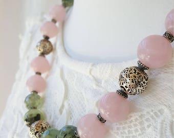 Elegant Beauty - Green Garnet and Rose Quartz Necklace, Sterling Silver 925
