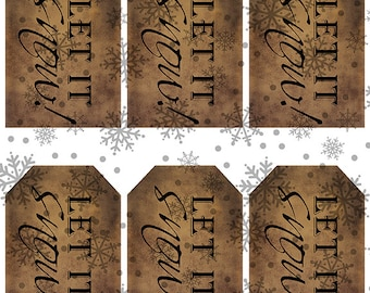 grungy tag set, craft supplies, primitive, hang tags, printables, scrapbooking - let it snow - black - digital PDF & jpeg - LSGT02