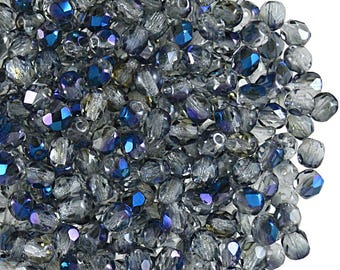 100 pcs Czech Fire-Polished Faceted Glass Beads Round 4mm Crystal Blue Flare (4FP098)