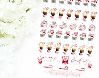 PEPPERMINT DRINKS   Peppermint Mocha Deco Sticker Sheet