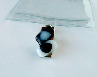 Fused glass Plastic ID Badge holder w/Metal Clip - fused glass badge holder clips -black and white- ID badge - ID accessory
