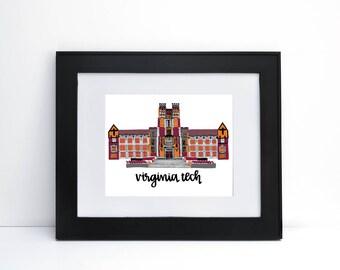 Burruss Hall - Virginia Tech Print 8x10