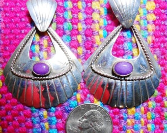 Native American Sterling Silver and Amethyst Earrings