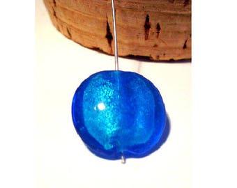 Set of 2 Royal Blue 20 mm x 9 mm lampwork beads