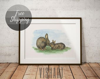 Woodland print hare nursery animal art for baby wall decor gender neutral gift for kids Nursery pictures on canvas wall art print watercolor