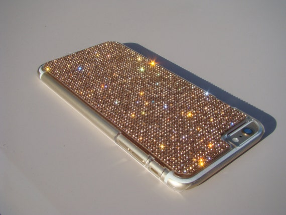 iPhone 6 Plus Case / iPhone 6s Plus Case Rose Gold Rhinestone Crystals on Transparent Clear Case. Velvet Pouch Included,