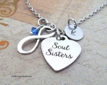 Soul Sister Infinity Symbol Charm Personalized Hand Stamped Initial Birthstone Antique Silver Sisters Heart Charm Necklace