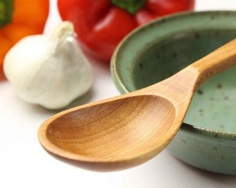 Small wooden spoon Cherry wood serving spoon for salsa and sauces