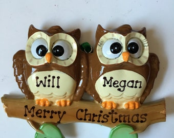 Owl Couple's First Christmas Personalized Christmas Ornament - Twins first Christmas, Grandparents